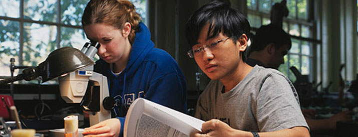 One student looking into a microscope, the other studying a textbook
