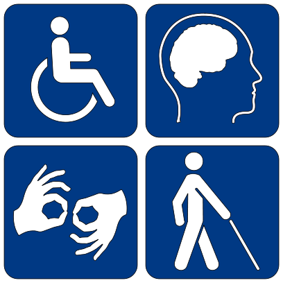 ADA Sign displaying wheelchair/mobility impairments, intellectual/learning disabilities, ASL/deaf or hearing impaired and person with can/blind or visual impaired.
